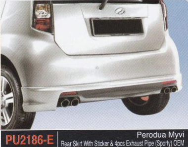 PERODUA MYVI REAR SKIRT WITH STICKER & EXHAUST PIPE SPORTY