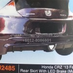 HONDA CRZ 2013 FACELIFT REAR SKIRT WITH LED BRAKE (PU2485)